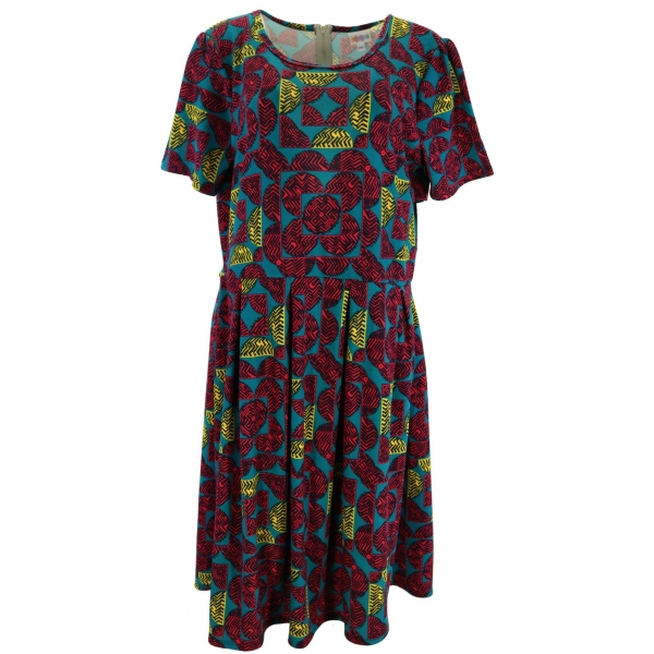 LuLaRoe Amelia (3XL) red blue green patterns