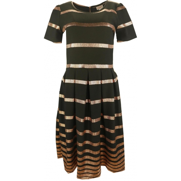 LuLaRoe Amelia (Large) Gold Black Stripes
