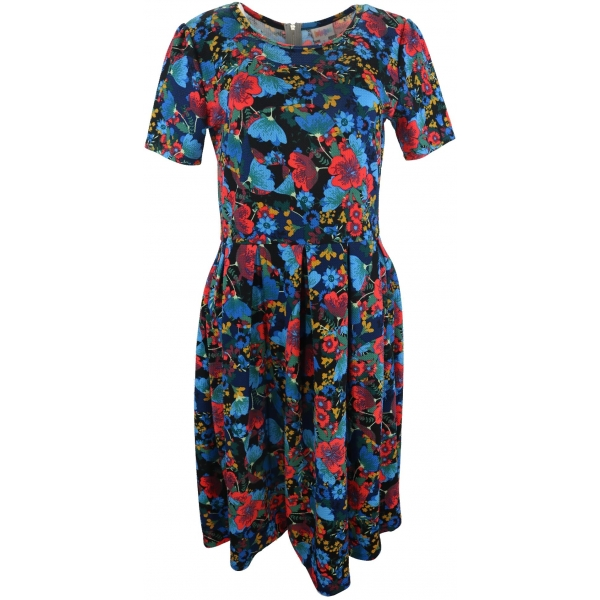 LuLaRoe Amelia (Large) Red Blue Flowers