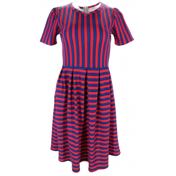 LuLaRoe Amelia (Small) pink and blue stripes