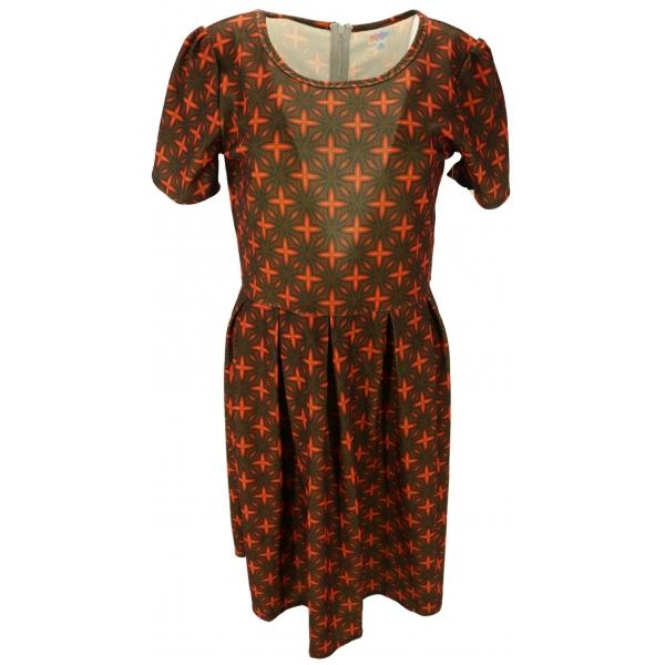 LuLaRoe Amelia (XL) Orange patterns on brown