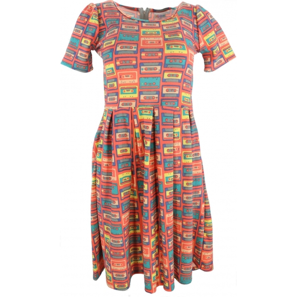 LuLaRoe Amelia (XS) Cassettes on Orange