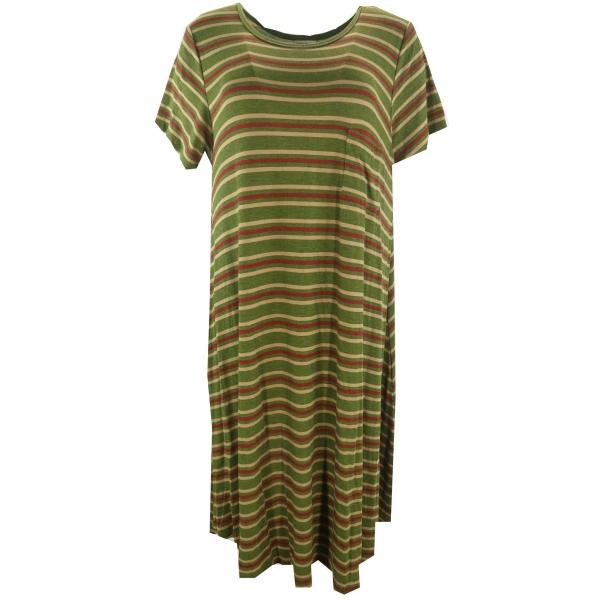 LuLaRoe Carly (Large) Green red brown stripes