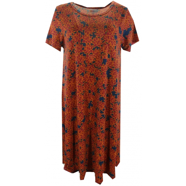 LuLaRoe Carly (Small) Red flowers on blue