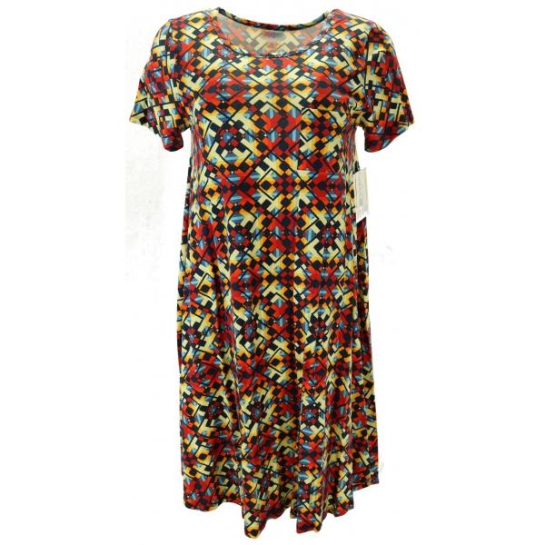 LuLaRoe Carly (XS) patterns, mainly red & yello