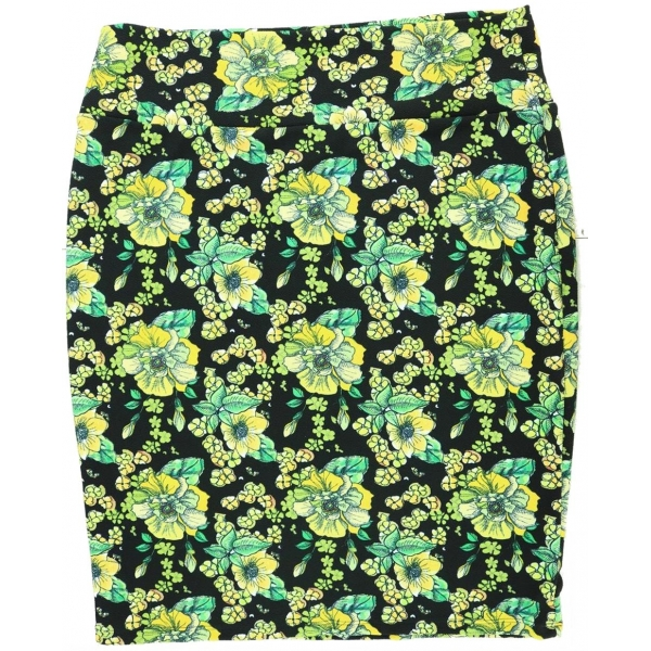 LuLaRoe Cassie (2XL) Yellow flowers on Black
