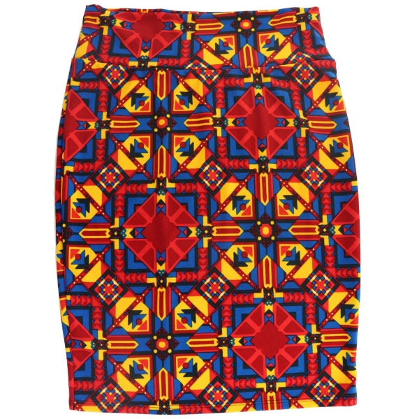 LuLaRoe Cassie (Large) red blue and yellow patterns