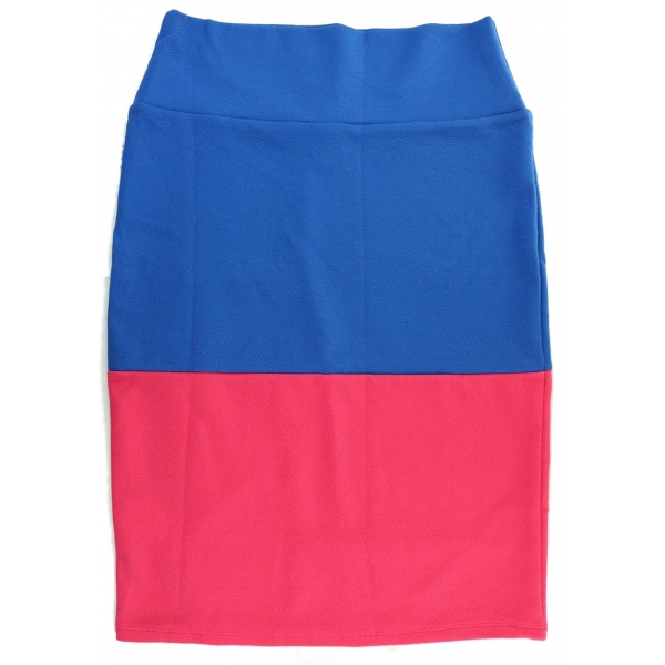 LuLaRoe Cassie (Medium) blue and punch stripes