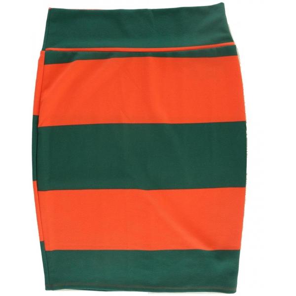 LuLaRoe Cassie (XL) Green Orange Stripes