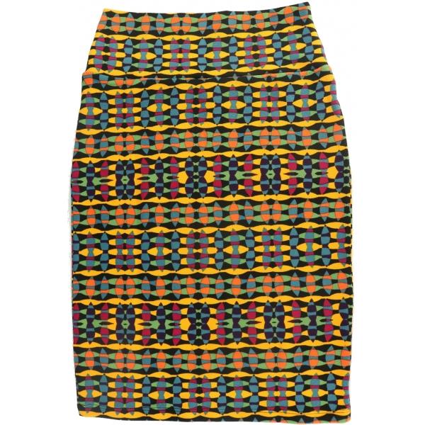 LuLaRoe Cassie (XS) Yellow Blue Black Patterns