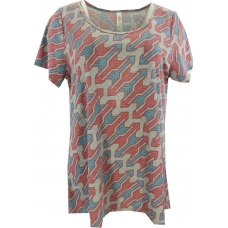 LuLaRoe ClassicT (Large) Red Blue Arrows on Gray