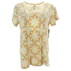 LuLaRoe ClassicT (Large) white, blue patterns on yellow