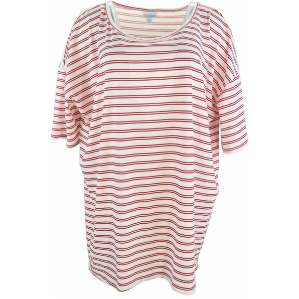 LuLaRoe Irma (2XL) Pink stripes on white