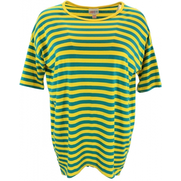 LuLaRoe Irma (2XS) Yellow Green Stripes