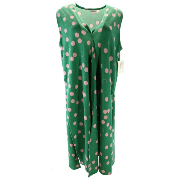 LuLaRoe Joy (Large) green with pink dots