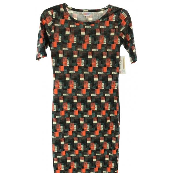 LuLaRoe Julia (2XS) orange, white, green, black patterns