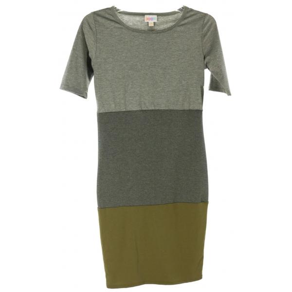 LuLaRoe Julia (2XS) gray/dark gray/olive stripes