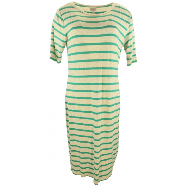 LuLaRoe Julia (Large) Green Stripes on Gray