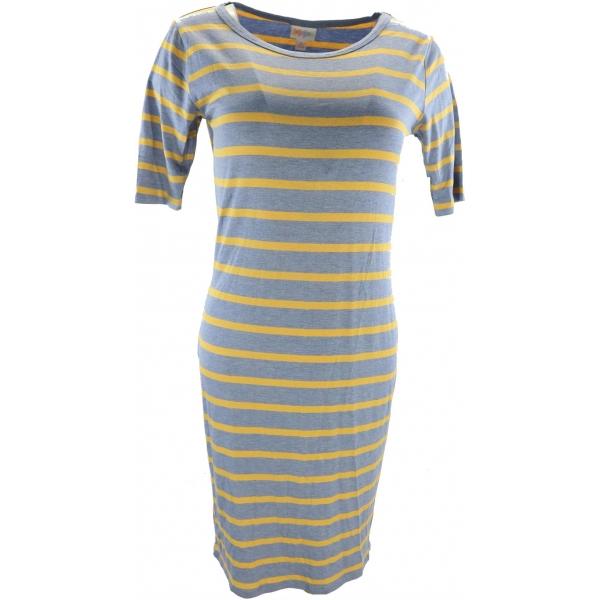 LuLaRoe Julia (Small) Blue yellow stripes