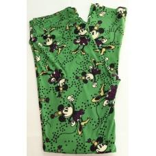 LuLaRoe Leggings (OS) Disney Old Minnie on green
