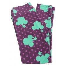 LuLaRoe Leggings (OS) Disney Teal Minnie heads on purple, pink dots