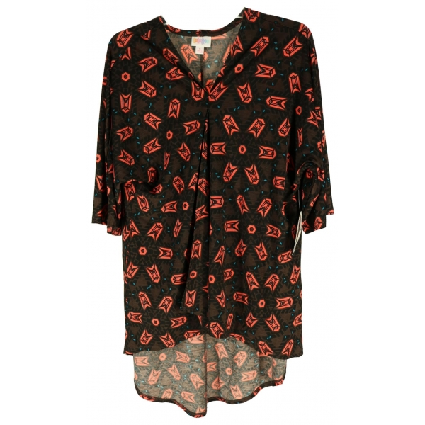 LuLaRoe Lindsay (Small) red with brown patterns