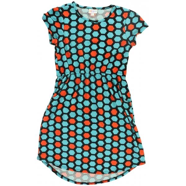 LuLaRoe Mae (12) Blue Orange Patterns on Black