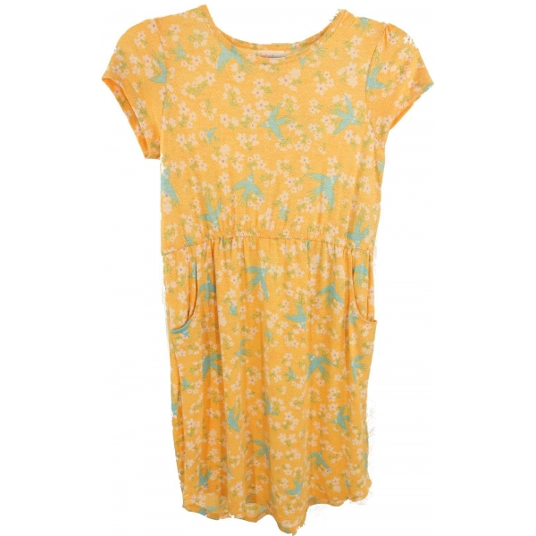 LuLaRoe Mae (12) birds and flowers on yellow