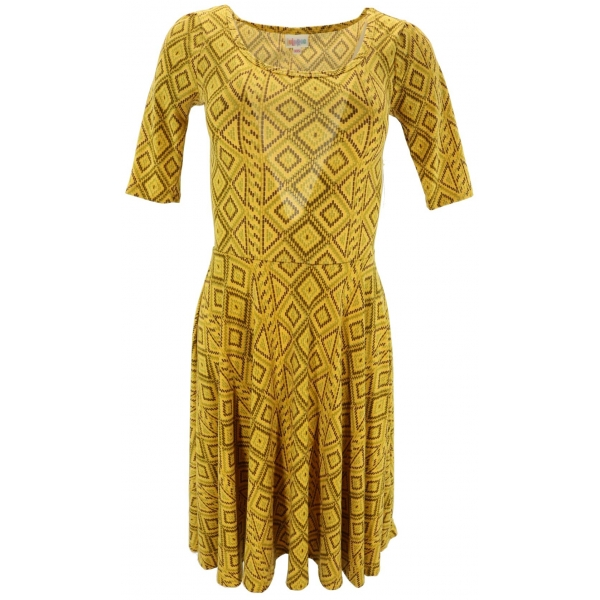 LuLaRoe Nicole (2XS) patterns on yellow