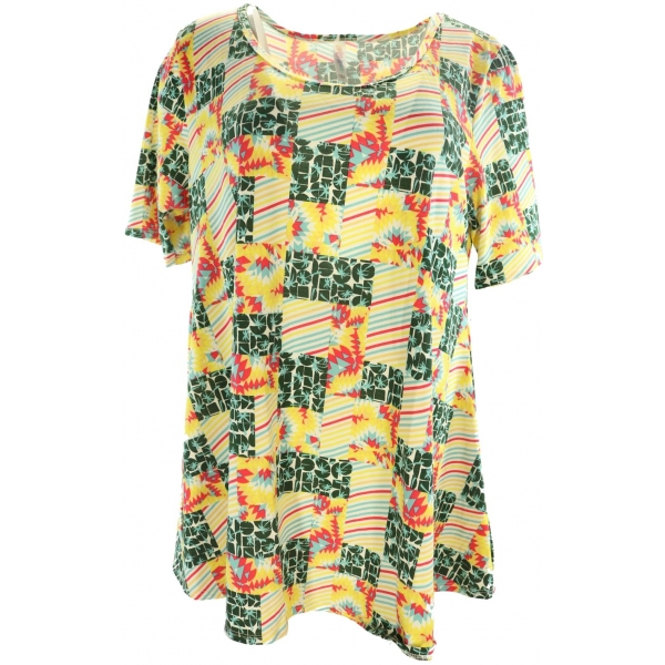 LuLaRoe PerfectT (Large) Yellow Green Red Patterns