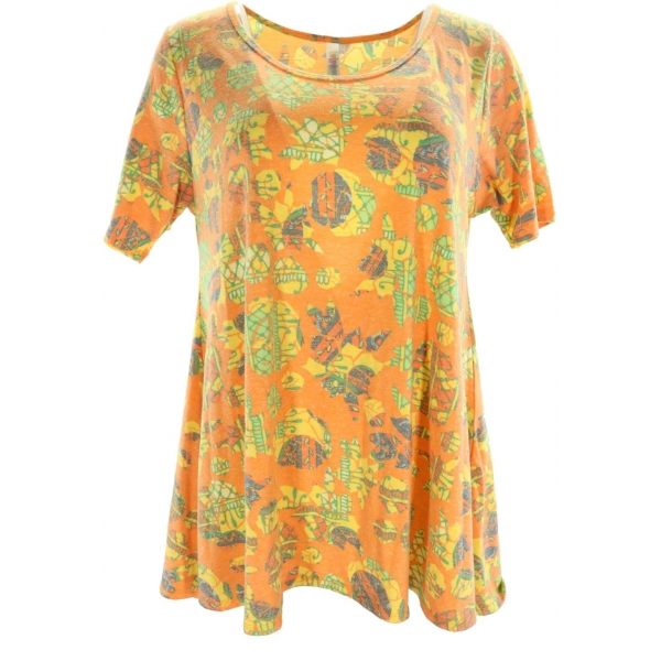 LuLaRoe PerfectT (Medium) Patterns on Orange 2