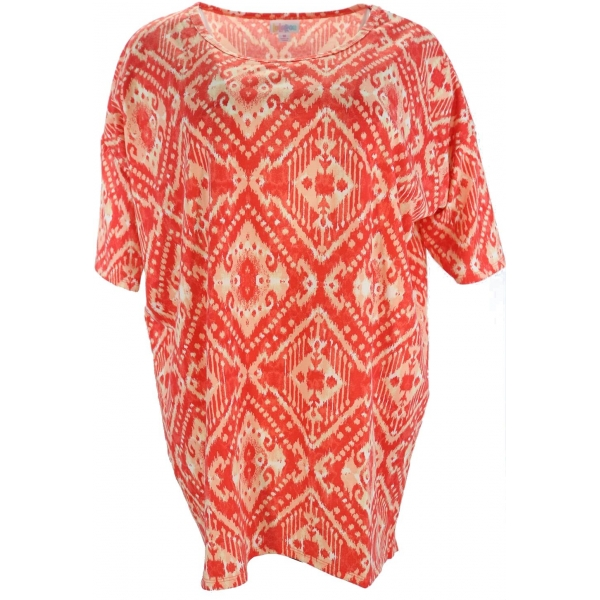 LuLaRoe PerfectT (Medium) White Patterns on Red