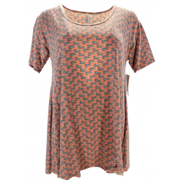 LuLaRoe PerfectT (Small) blue patterns on orange