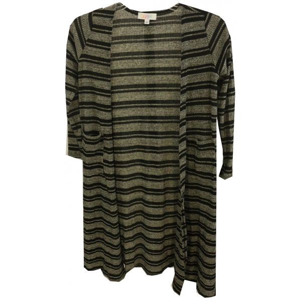 LuLaRoe Sariah (10) Black Gray Stripes