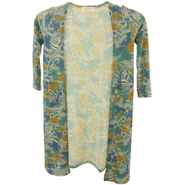 LuLaRoe Sariah (6) Blue white yellow patterns